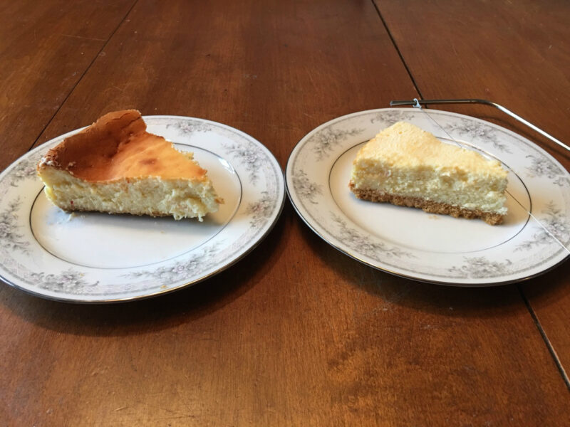 The slice on the left is straight from the pan. The slice on the right I used a cake layer slicer to level & skim off the top
