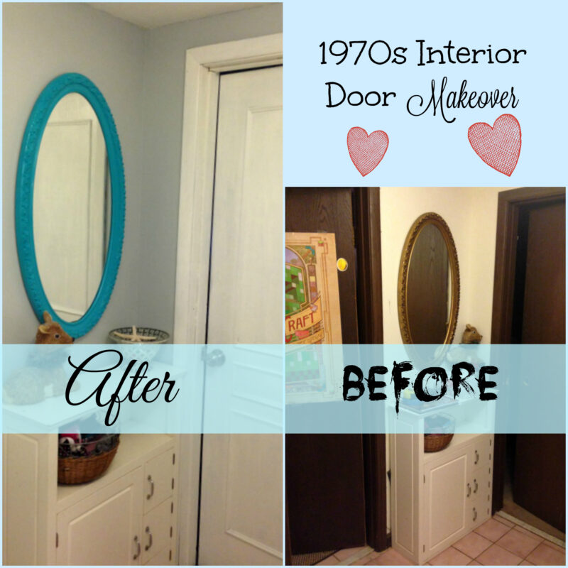 Update your ugly, flat dark interior doors inexpensively with just some wood moulding & paint!