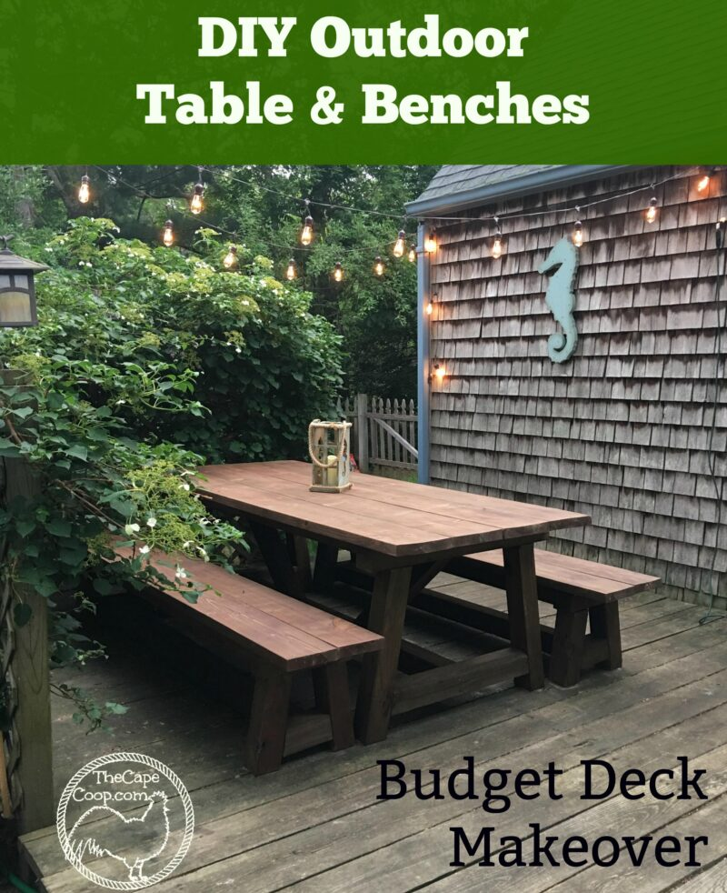 Admirable Diy Table Benches Budget Deck Makeover The Cape Coop Bralicious Painted Fabric Chair Ideas Braliciousco